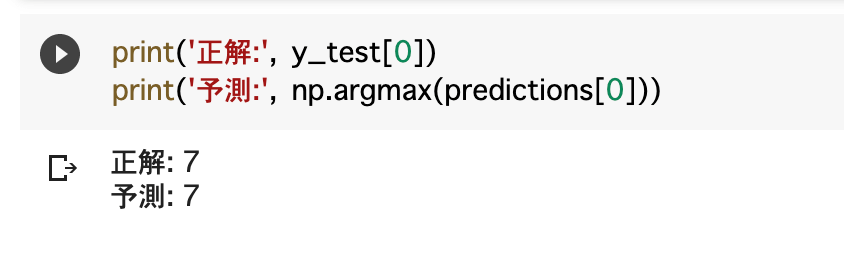 ニューラルネットワークの予測結果